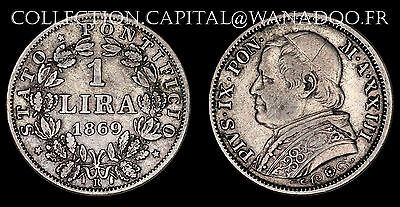 Italy / State of the Vatican / 1 Lire 1869 / Pie IX Silver