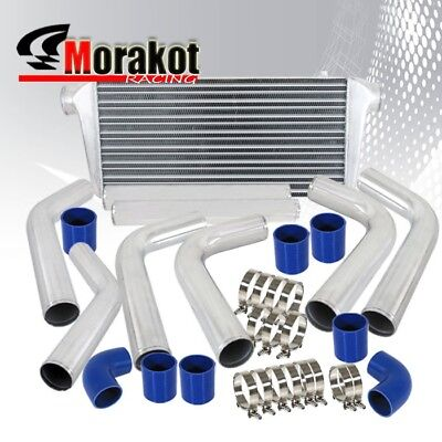 "Universal JDM 31"" Inch Turbo Intercooler+2.5"" Aluminum Piping Kits Polished/Blue"