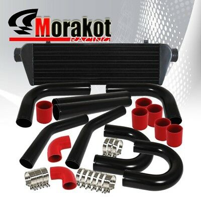 "New Universal 8 Picec 3"" Aluminum Turbo Intercooler Black+Piping Kit+Coupler Red"