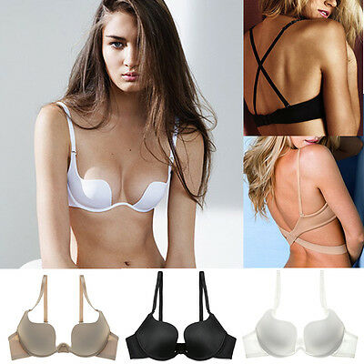UK Women Multiway Strapless Padded Push Up Bra Invisible Clear Back Straps ABCD