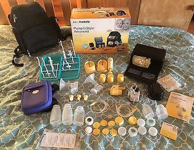 2 MEDELA BREASTPUMPS + Extras. Double Or Single. Backpack. Pump In Style Advance