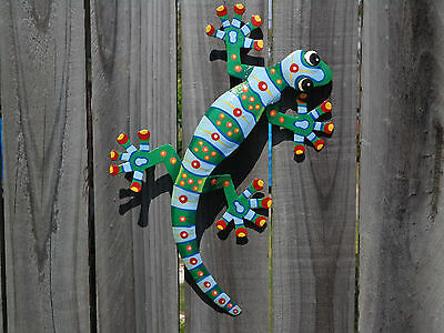 LARGE LIZARD Recycled Metal Garden Wall Hanging & Home Ornament Patio Decor