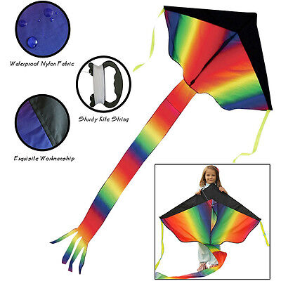 Huge Rainbow Kite For Kids and Adults Outdoor Fun Easy Fly Summer Beach Toys NEW