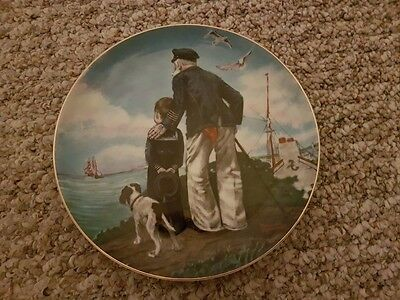 Norman Rockwell's Looking Out To Sea (RARE) 1982 banded 22-karat gold.