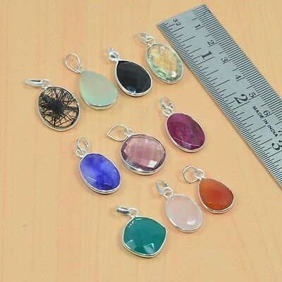 Wholesale 10Pc 925 Solid Sterling Silver Cut Red Ruby & Mix Gemstone Pendant Lot
