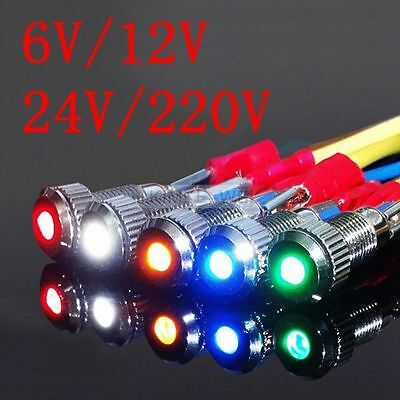 8mm metal waterproof LED Pilot Panel Indicator Signal Warning Light Lamp AC/DC
