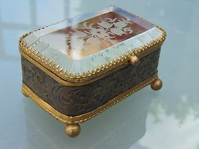 Antique French Bevelled Edge Glass Ormolu Jewellery Box Case Cushioned Base