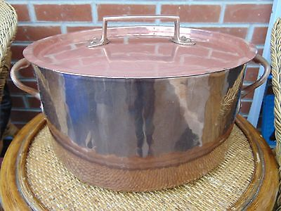 ANTIQUE FRENCH 33cm HAMMERED COPPER CASSEROLE STEW STOCK PAN POT DOVETAIL JOINTS