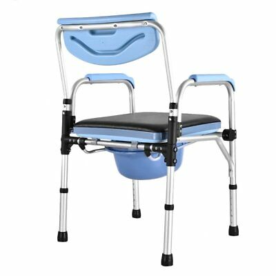 Adjustbale Fold Portable Commode Chair Mobility Disability Toilet Stool Aid AY