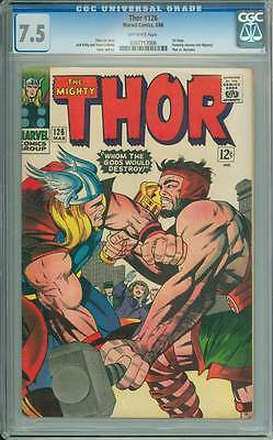 Thor # 126  Whom the Gods Would Destroy !   CGC 7.5 scarce book !