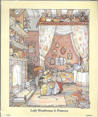 Paper tole kit lady woodmouse & primrose brambly house vintage c.1994 UNUSED