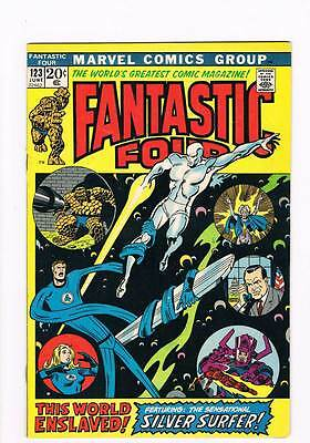 Fantastic Four # 123  This World Enslaved ! Surfer  grade 8.0 scarce book !!