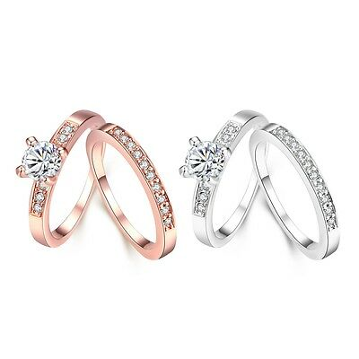 Wholesale Fashion 18K Rose Gold Plated/silver Ring women Beautiful gift size 5-9