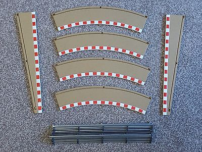 Scalextric Radius 2 Borders (C8228) x 4 + Lead In/Out Borders (C8233) + Barriers