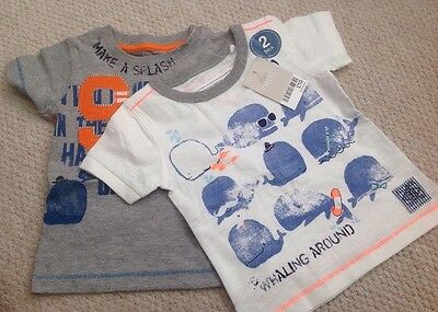 Two Next Cotton T Shirts*Size 3-6 Months*Whale Of A Time/Whaling Around*New