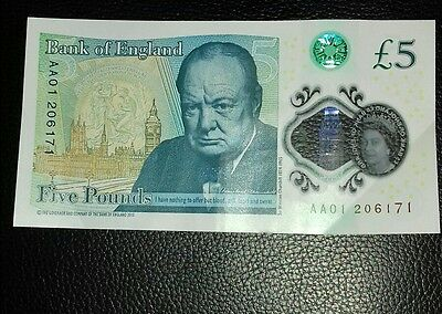 AA01 Polymer £5 Five Pound Note Genuine - New