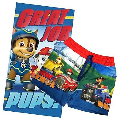 Boys Kids Paw Patrol Bath Towel And Swimming Shorts Trunks Summer Beach Set
