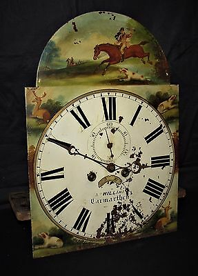 Nice Hand Painted 8 Day Grandfather Clock Movement & Dial. Wales Hunting Scene