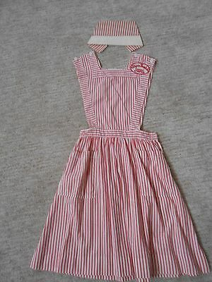 Women's vintage candy striper pinafore and cap