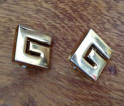1980s Givenchy Paris Clip-on Earrings, Large 'G' Logo, Gilded. Costume Jewellery