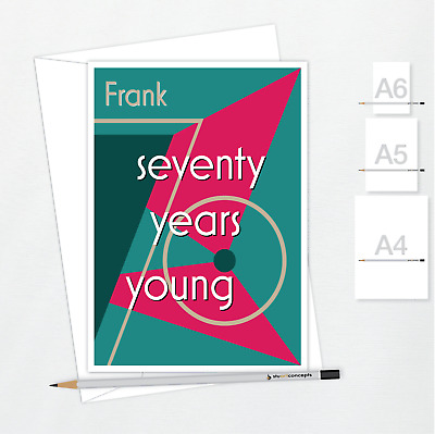 Funky 70th Birthday Card For Her Him Edit Name Mom Dad Aunt Uncle Friend