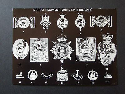 Military Postcard- Dorset Regiment 39Th And 45Th Insignia