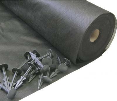 1.5m x 50m Yuzet Weed Control 50 pegs Ground Cover Membrane Landscape Fabric
