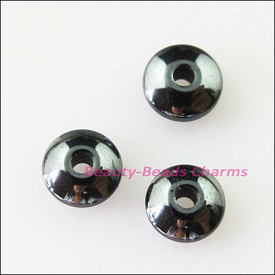 20Pcs Smooth Round Flat Black Hematite Gemstone Spacer Beads Charms 8mm
