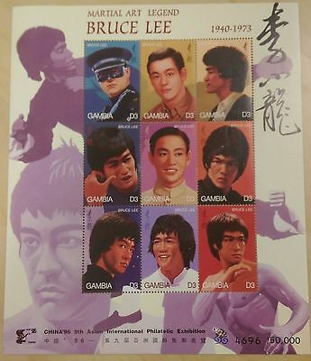 Gambia- 1996 Bruce Lee Sheet of 9 stamps MNH