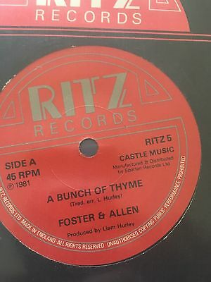 """FOSTER AND ALLEN a bunch of thyme/the blacksmith RITZ 5 uk ritz 1981 7"""" WS EX/"""