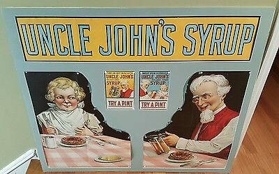 Early Antique  UNCLE JOHN'S MAPLE SYRUP Store Window Display Sign #2 NOS