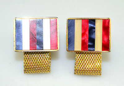 Vintage Destino Red White & Blue Inlaid Stripes Gold Tone Mesh Wrap Cufflinks
