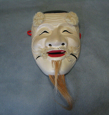 Real Japanese Noh Lacqered Mask Old Man Beard Smile made in Showa Era
