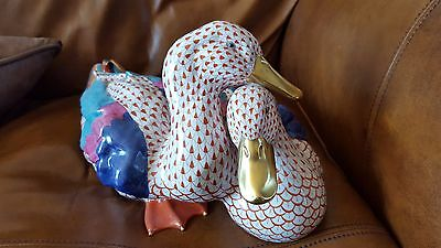 HEREND figurine Large Pair of Ducks rust fishnet china figure