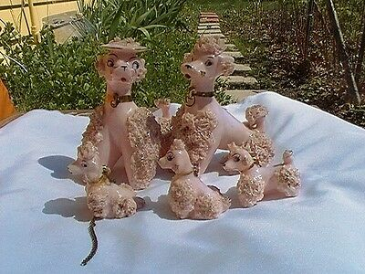 Vintage 50's/early 60's Family Of 5 Pink Spaghetti Poodle Porcelain Figurines