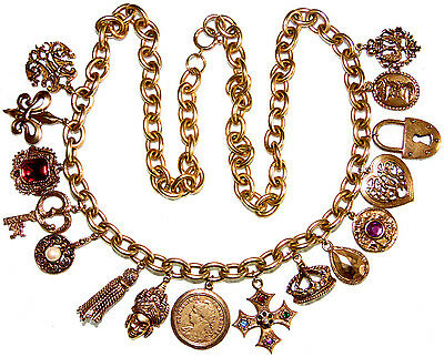 Vintage Stunning 16 Charms Cross Heart Lock Crown Tassel Key Ect. Necklace