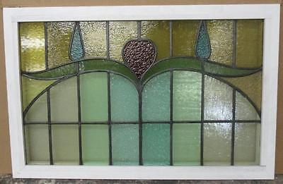 """OLD ENGLISH LEADED STAINED GLASS WINDOW TRANSOM Sprawling Floral 34.5"""" x 22.5"""""""