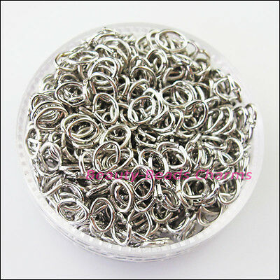 300Pcs Oval Jump Rings Open Connectors Dull Silver Plated 4x5mm