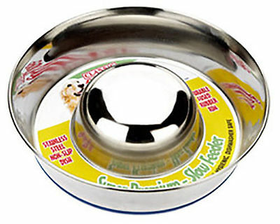 Classic Dog Puppy Anti Gulp Bowl Stainless Steel - Slow Feeder Stops Bloating