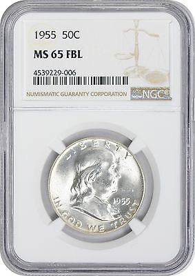 1955 Franklin Half MS65FBL NGC Mint State 65 Full Bell Lines