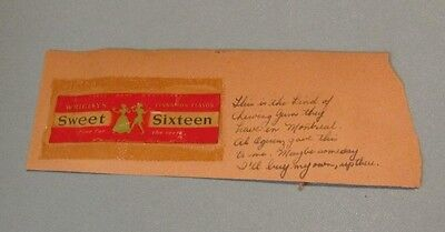 1940's Wrigley's Sweet Sixteen Cinnamon Chewing Gum Wrapper Montreal Canada