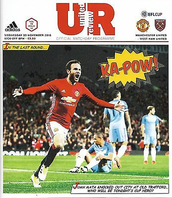 MANCHESTER UNITED v WEST HAM UNITED LEAGUE CUP 5th ROUND 2016/17 MINT