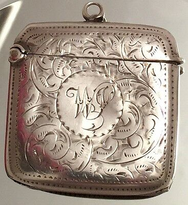 Antique Sterling Silver Hinged Stamp Box Chatelaine Hand Engraved Collectible