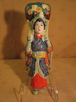 Antique Japanese Banko Ware Wall Pocket Woman with Flowers Japan Majolica glaze