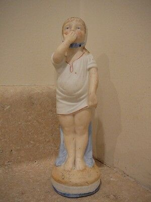 Antique Sleepy Tired Girl Young Woman Figurine Statue German Bisque Porcelain