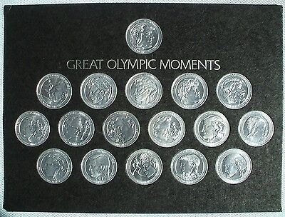 Franklin Mint 1972 Complete Coca Cola GREAT OLYMPIC Moments COIN SET w/BOOK
