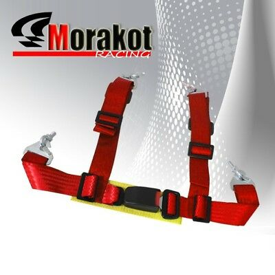 """Universal Adjustable 2"""" inch 4 point Racing Seat Belt Red Eye Bolts Yellow Strap"""
