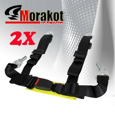 "2X (Two) Universal 2"" Jdm 4 point Racing Seat Belt Black Eye Bolts Yellow Strap"