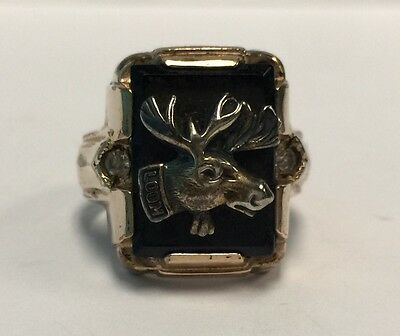 Antique Art Deco Moose Lodge 1/20 10K Gold Filled Chunky Ring