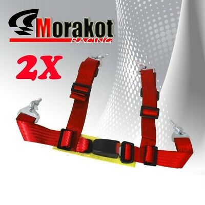 """2x (Pair) Adjustable 2"""" inch 4 point Racing Seat Belt Red Eye Bolts Yellow Strap"""